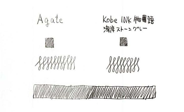 lamyクリスタルインク_agate_神戸インク「海岸ストーングレー」との比較